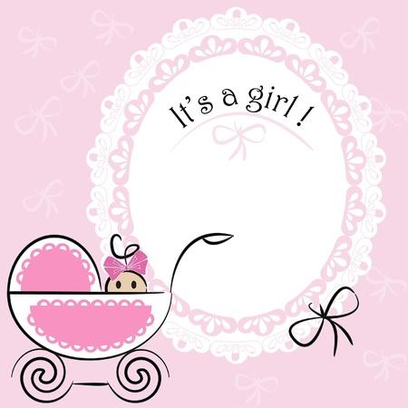 Carte de bébé - C'est un thème de fille Vecteurs