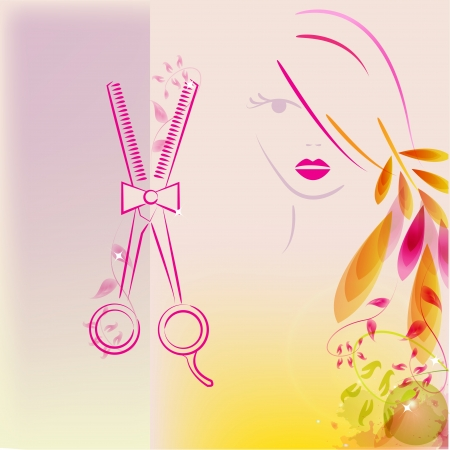 A beautiful girl and scissors for your hair salon design Illustration