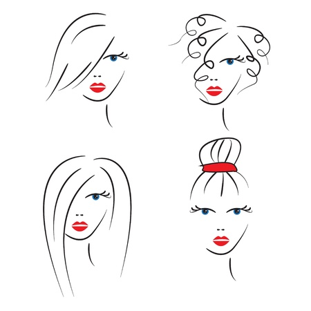 Womans hair styles.  Vector