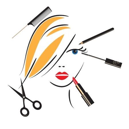 make up brush: Cara de la mujer con maquillaje accesorios para su dise�o