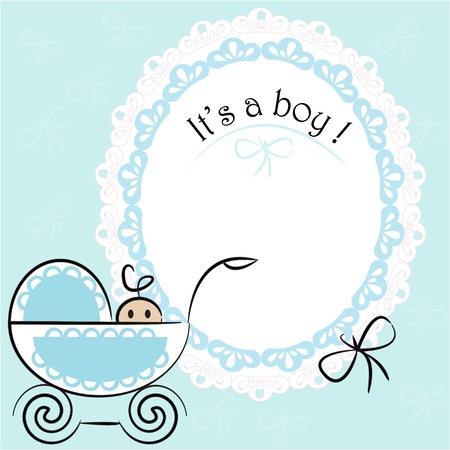 Baby card - Its a boy theme with a baby boy in pram. Vector