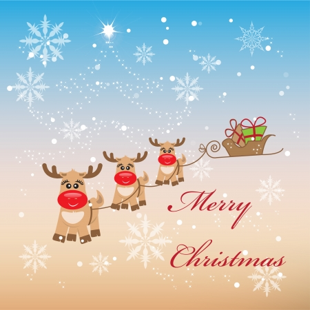 Merry Christmas greeting card with deers Vector