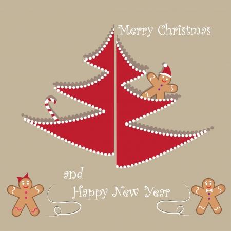 christmas cookies: Christmas card with tree and Christmas cookies