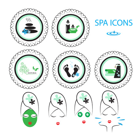 skin oil: Spa icons set for your design