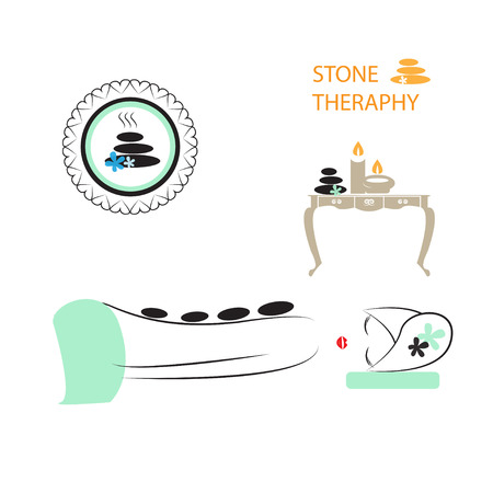 masseuse: Health And Spa  Girl Enjoying Stone therapy  Part of Spa icons set  Illustration