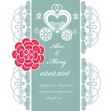 Wedding invitation card with carriage. Part of a set. Vector
