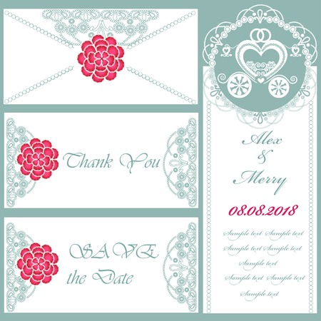 Set of wedding invitations and announcements . Part of a set. Vector