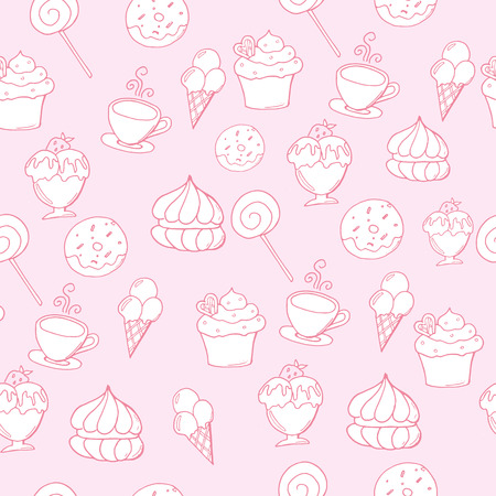 Hand drawn vector seamless pattern with desserts.