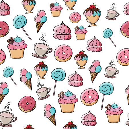 Hand drawn seamless pattern with desserts. Ice cream illustration background.