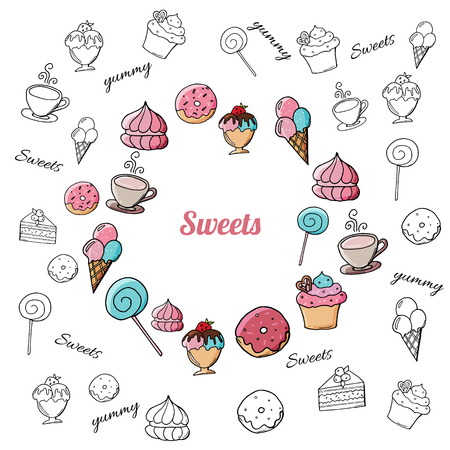 Hand drawn desserts and sweets on white background. Doodle sweets on white background. Black and white doodle pastry and desserts.