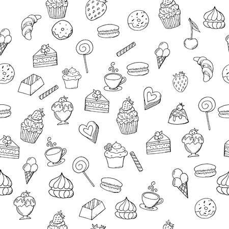Hand drawn sweet pastry with berries on isolated white background, seamless pattern. Doodle sweet pastry with strawberry and cherry. Иллюстрация