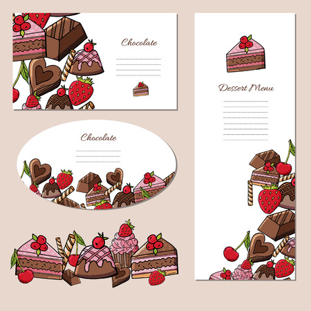 Set of posters with delicious chocolate desserts and berries.