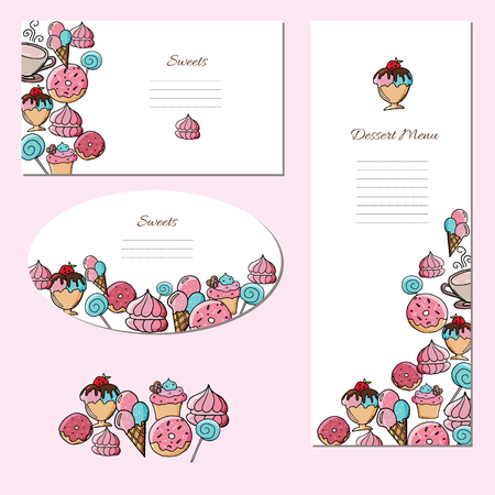 Set of posters with delicious desserts and sweets. Doodle ice cream and sweet pastry on white background.