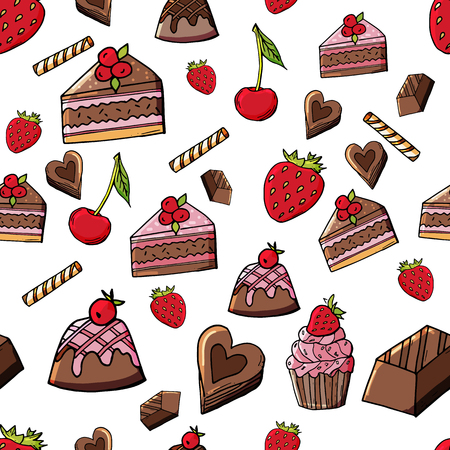 Hand drawn chocolate cakes with berries seamless pattern. Doodle sweet pastry with strawberry and cherry.