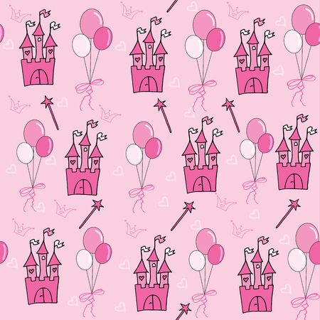 Little princess seamless pattern in pink with balloons.