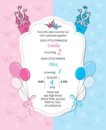 Baby girl and baby boy royal birthday invitation with balloons.