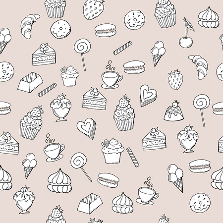 Hand drawn sweet pastry with berries on isolated background, seamless pattern. Doodle sweet pastry with strawberry and cherry.