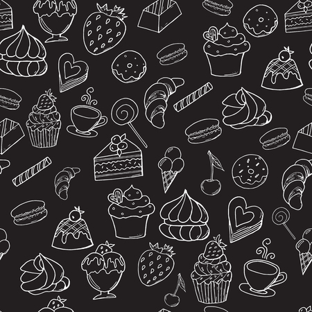 Sweet bakery sketch seamless pattern on black board. Ilustração