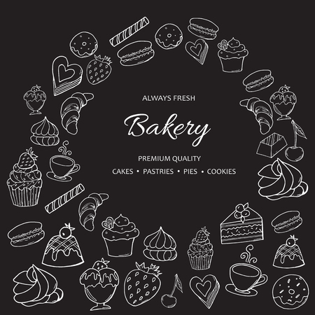 Hand drawn set of sweet bakery on chalkboard. Dessert, ice cream, macaron and pudding, donut, muffin and cupcake. Иллюстрация