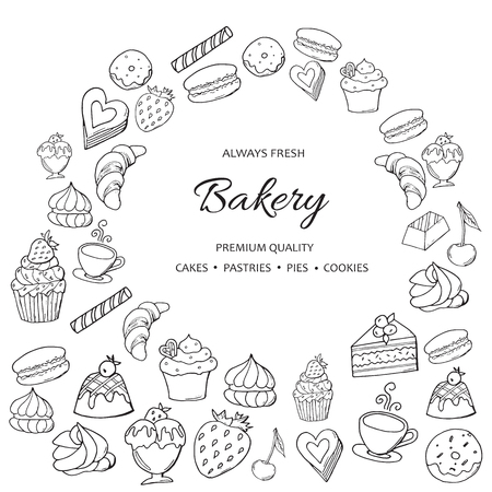 Hand drawn set of sweet bakery on white background.