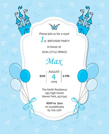 Baby boy royal birthday invitation with balloons, castle, hearts and crowns.