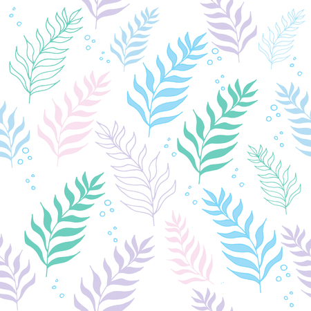 Pastel color jungle seamless tropical exotic pattern on the white background.
