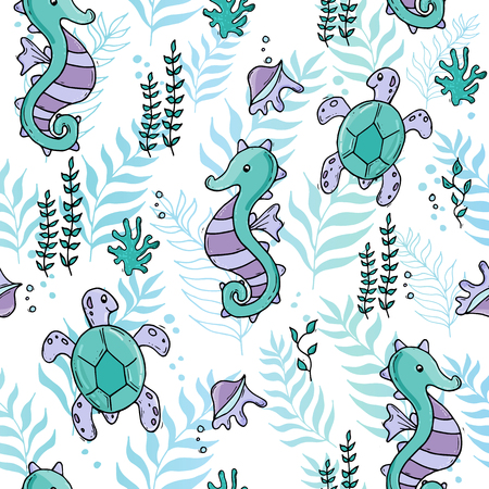 Pastel color jungle seamless sea pattern with seahorse and tartle and shells.