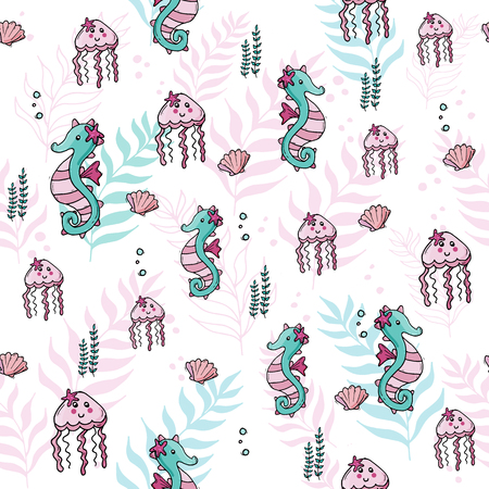 Pastel color jungle seamless tropical sea pattern with seahorse, jellyfish  and shells.