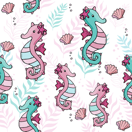 Pastel color tropical sea seamless pattern with  seahorse and shells. Ilustrace