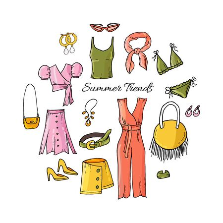 Fashion set of womans summer clothes and accessories. Summer style. Hand drawing doodles.