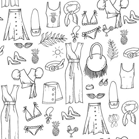 Fashion set of womans summer clothes and accessories. Seamless pattern. Hand drawing doodles. Vacation outfits Иллюстрация