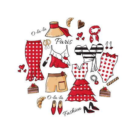 Circle made of different symbols related to France and fashion week in Paris. Summer clothes collection. Round template for greeting cards isolated on white Иллюстрация