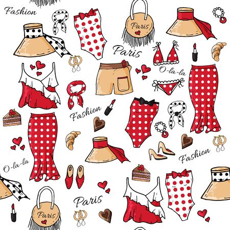 Fashion set of woman's summer clothes and accessories. Seamless pattern. Hand drawing doodles. Paris fashion, pin up style.