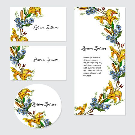 Set of cards with lily flowers. Wedding ornament concept. Botanical floral cards. Can be used as greeting card or wedding invitation.