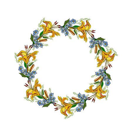 Summer floral wreath with lily flowers. Circle frame with flowers on white background. Wedding invitation or card template.
