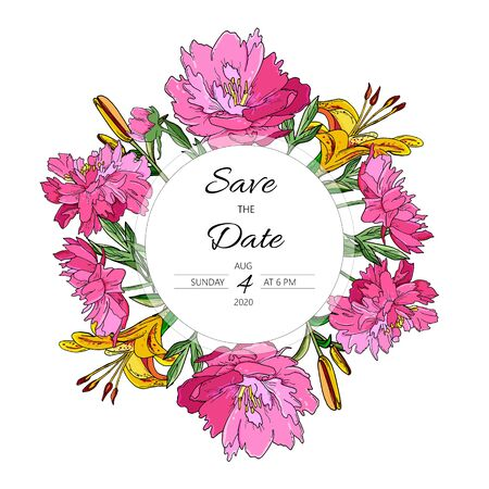 Floral save the date card with Fuchsia Peonies and yellow lily. Hand drawn doodle wedding invitation with flowers.