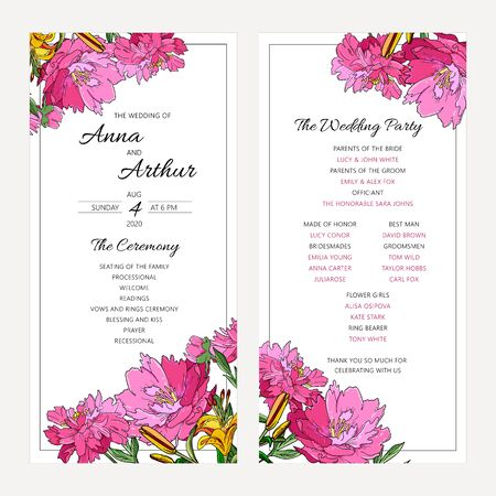 Wedding floral invitation set with peony flowers and lily. The ceremony and wedding party decorative modern layout. Illustration