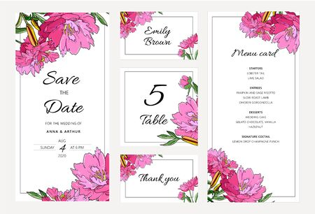 Wedding floral invitation set with peony flowers and lily. Menu card, save the date and table cards, modern layout.