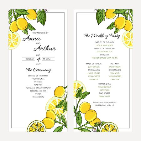 Wedding fruit invitation set with lemons. The ceremony and wedding party decorative modern layout. Banque d'images - 131444823