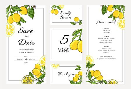 Set of Botanical Wedding lemon tree invitations with lemon and leaves. Thank you, save the date and menu layout. Иллюстрация