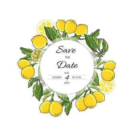 Fruit Card with lemon tree wreath. Hand drawn doodle wedding invitation with lemons.