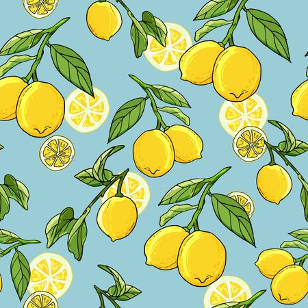 Fresh lemons hand drawn background. Doodle wallpaper idea. Colorful seamless pattern with fresh fruits. Иллюстрация