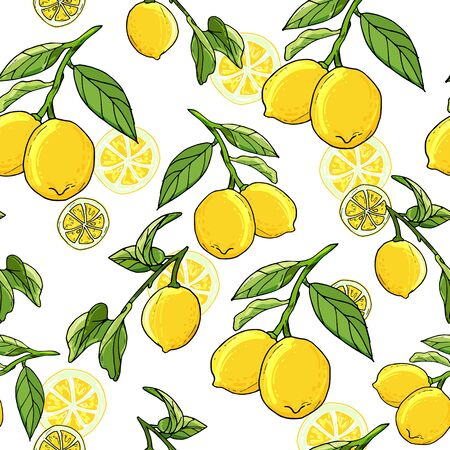Fresh lemons hand drawn background. Doodle wallpaper idea. Colorful seamless pattern with fresh fruits. Illustration