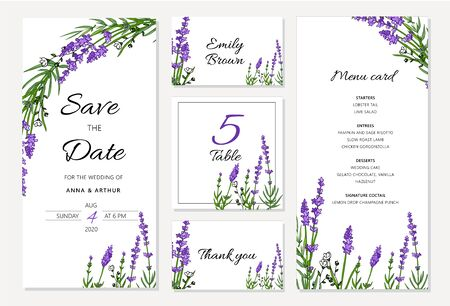 Wedding floral invitation set withlavender. Menu card, save the date and table cards, modern layout. Doddle illustration set. Banque d'images - 131444830