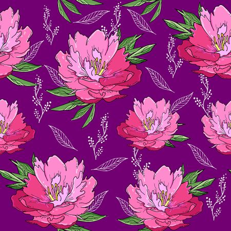 Seamless pattern with pink peony flowers and leaves. Doodle hand drawn flowers on white background. Иллюстрация