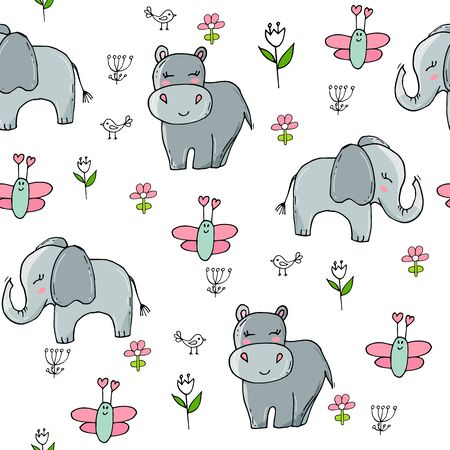 Seamless pattern with cute elephants and butterflies. Cute background for kids. Baby print. Ilustracja
