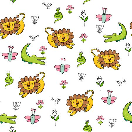 Cute seamless pattern with tropical animals on white background. Lion, snake and crocodale in jungle.