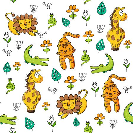Cute seamless pattern with tropical animals on white background. Lion, snake and crocodale, tiger and giraffe in jungle. Иллюстрация