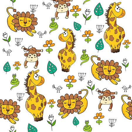 Cute seamless pattern with tropical animals on white background. Lion, snake, giraffe and monkey in the jungle. Banque d'images - 131444839