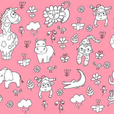 Cute seamless pattern with tropical animals on pink background. Lion, elephant, tiger, giraffe and monkey in the jungle. Ilustracja